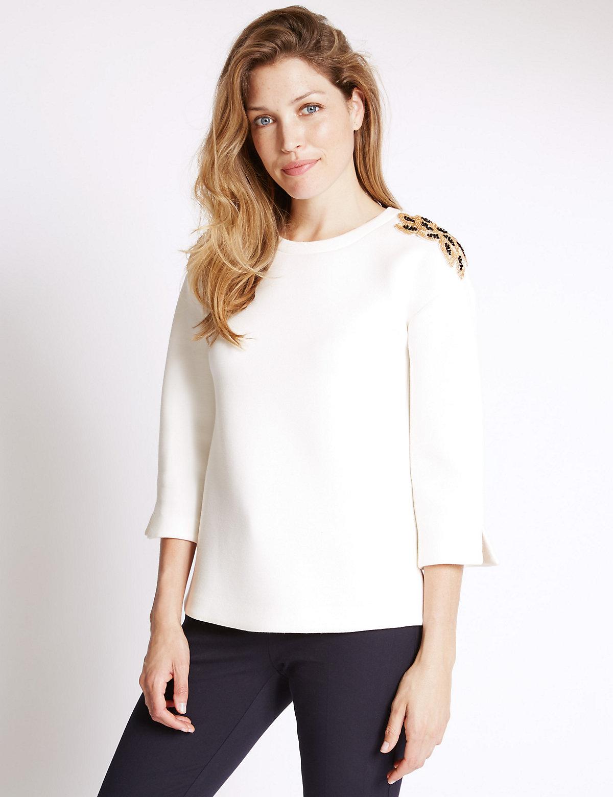 Per Una Bling Shoulder 3/4 Sleeve Sweatshirt