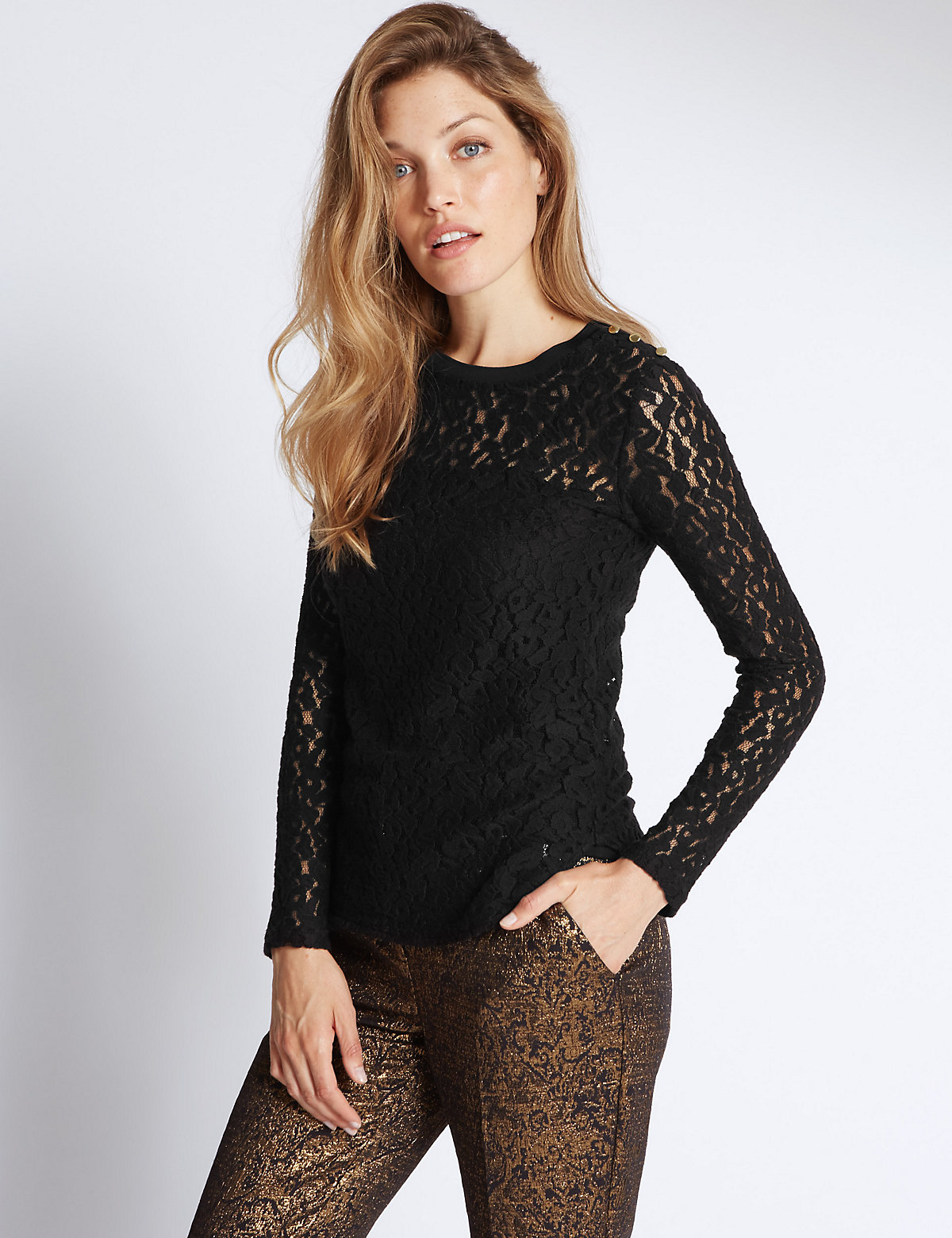 Per Una Animal brushed Lace Long Sleeve Jersey Top