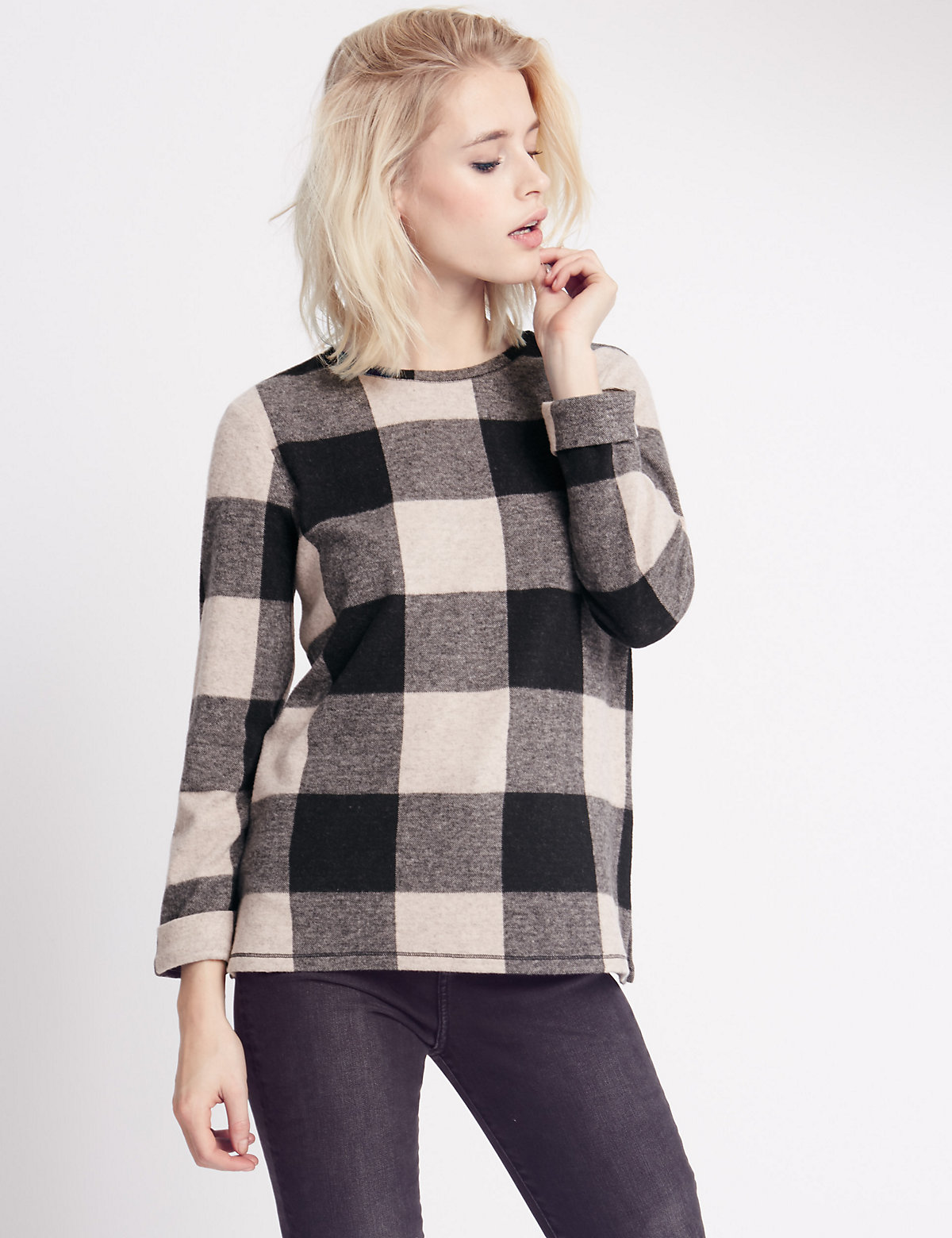 Indigo Collection Checked 3/4 Sleeve Jersey Top