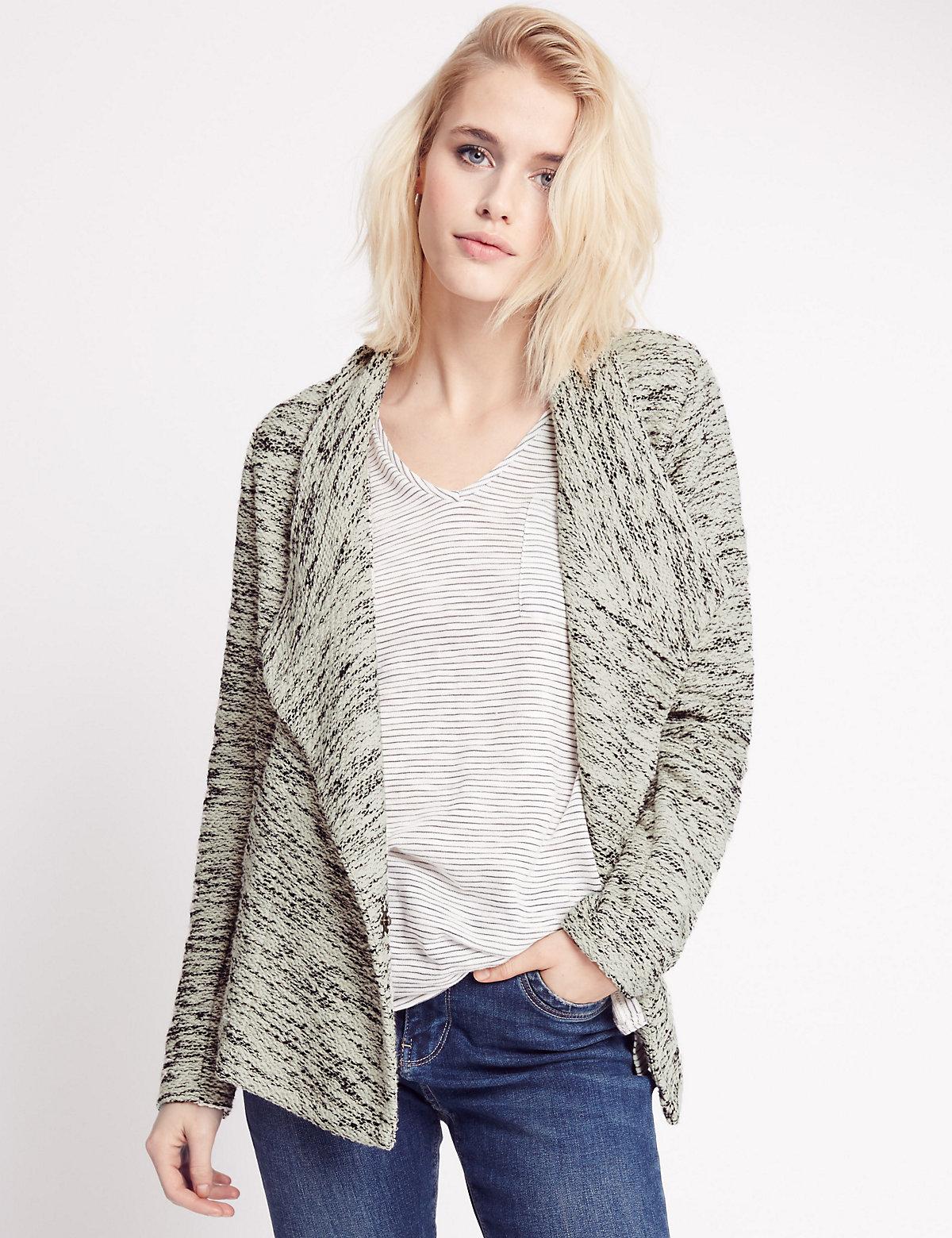Indigo Collection Warm Handle Boucle Long Sleeve Jersey Top