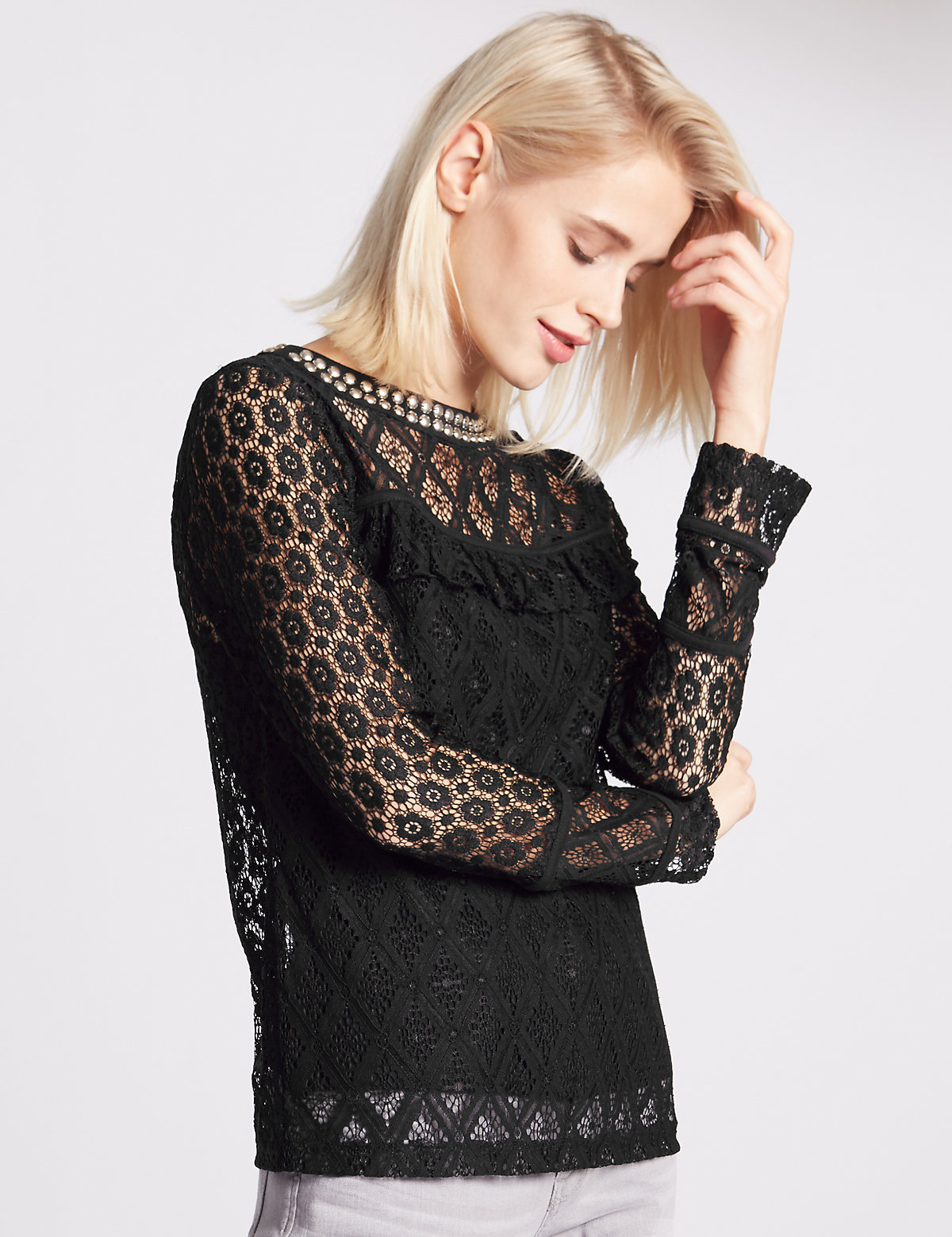 Indigo Collection Beaded Lace Jersey Top