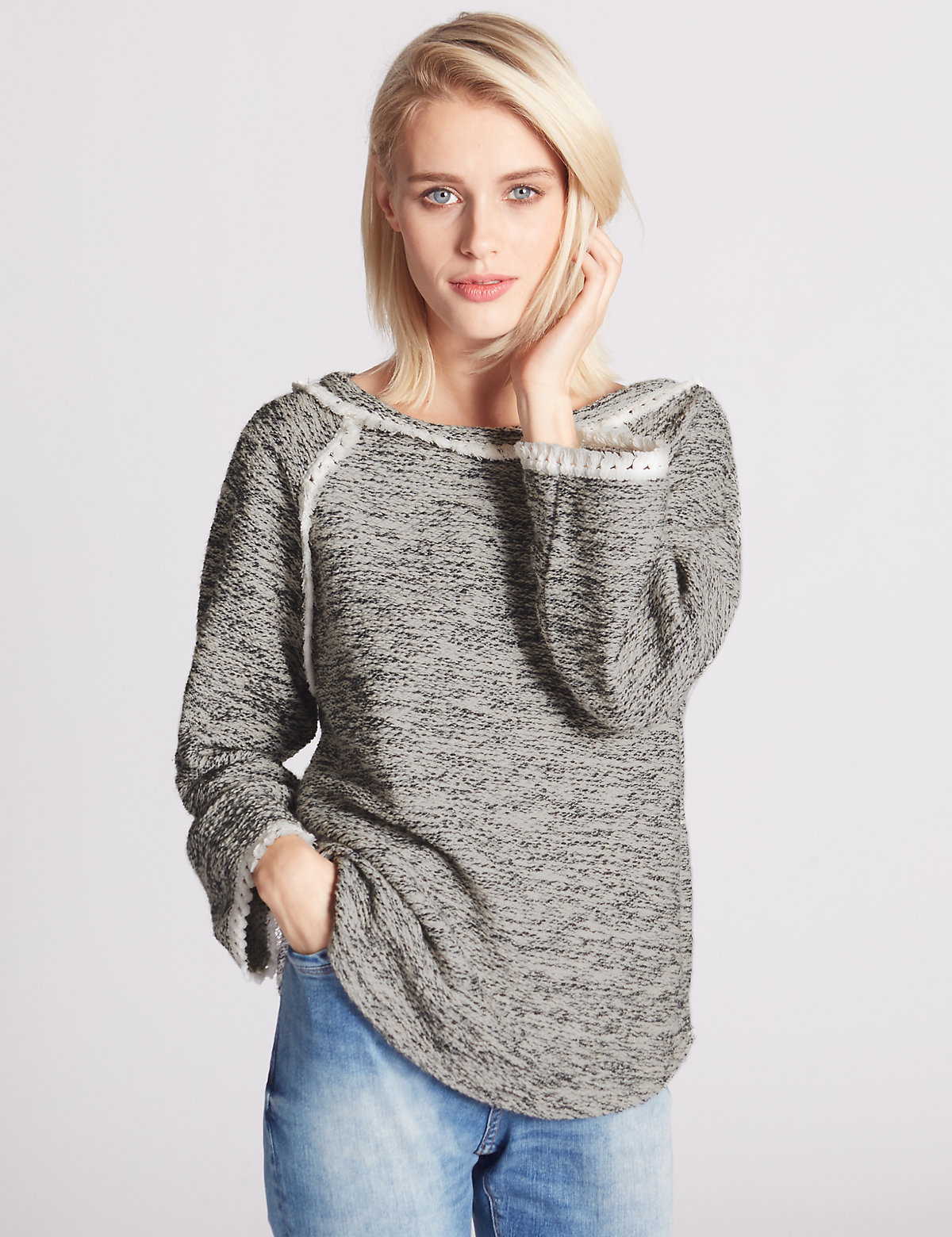 Indigo Collection 3/4 Sleeve Textured Tassel Sweatshirt