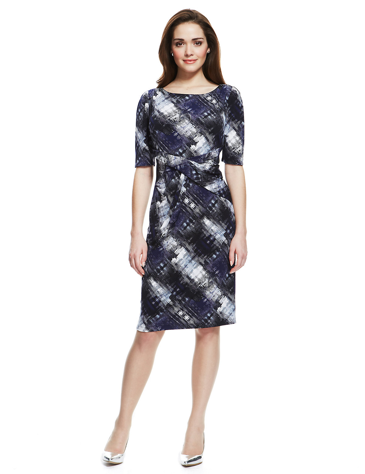M & S Collection Abstract Checked Ruched Front Shift Dress