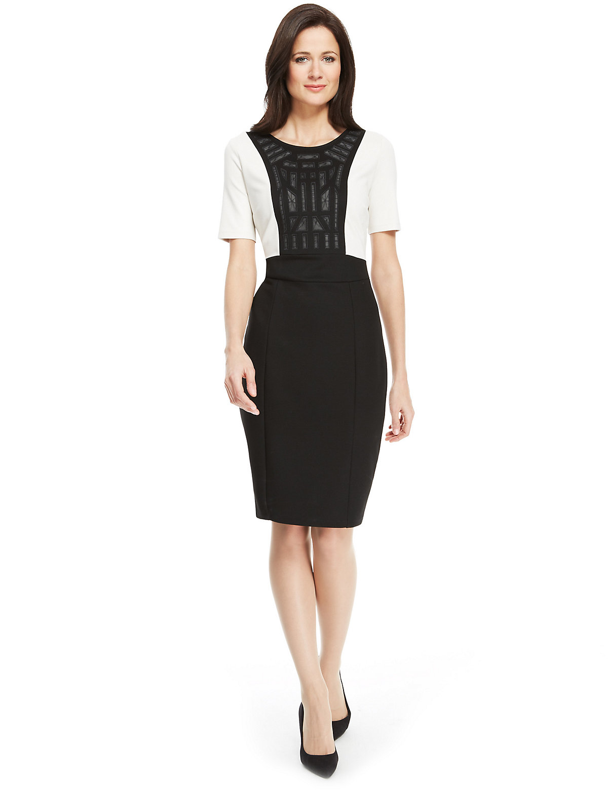 M & S Collection Colour Block Embroidered Ponte Shift Dress