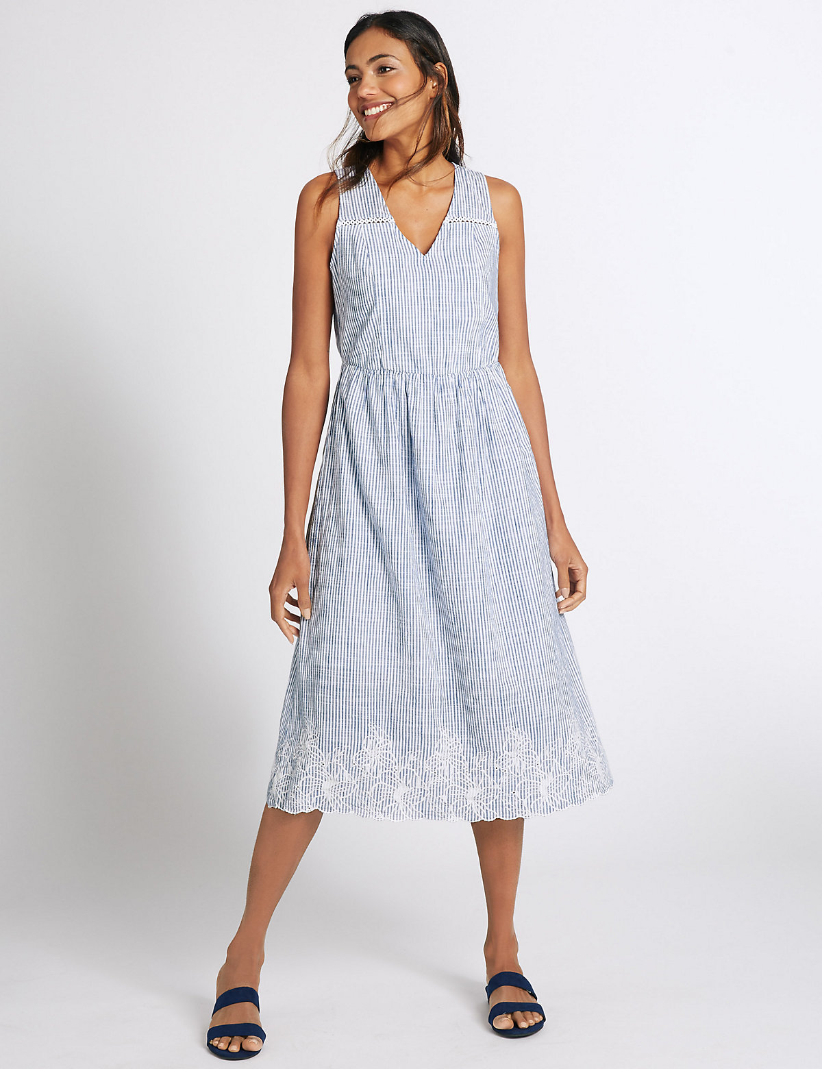MS Collection Pure Cotton Embroidered Skater Dress Marks and Spencer P22502050