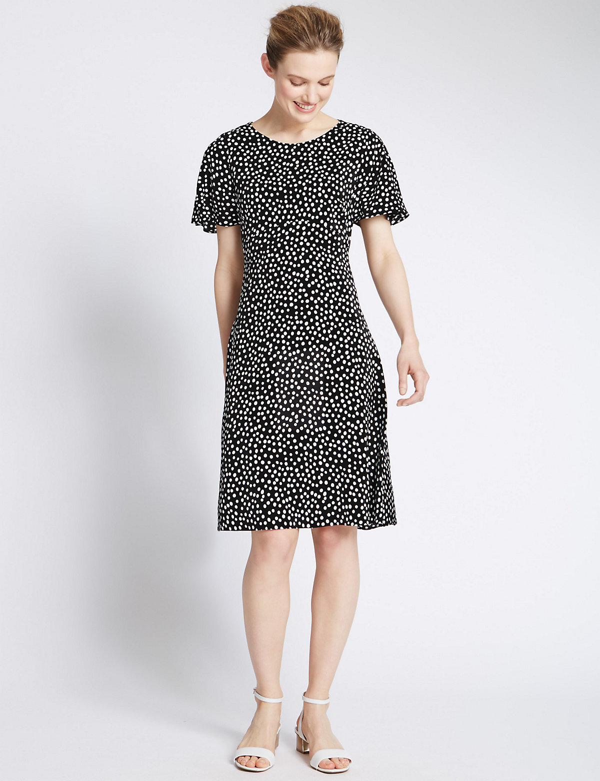 MS Collection Spotted Crêpe Fit  Flare Tea Dress £39.50 AT vintagedancer.com