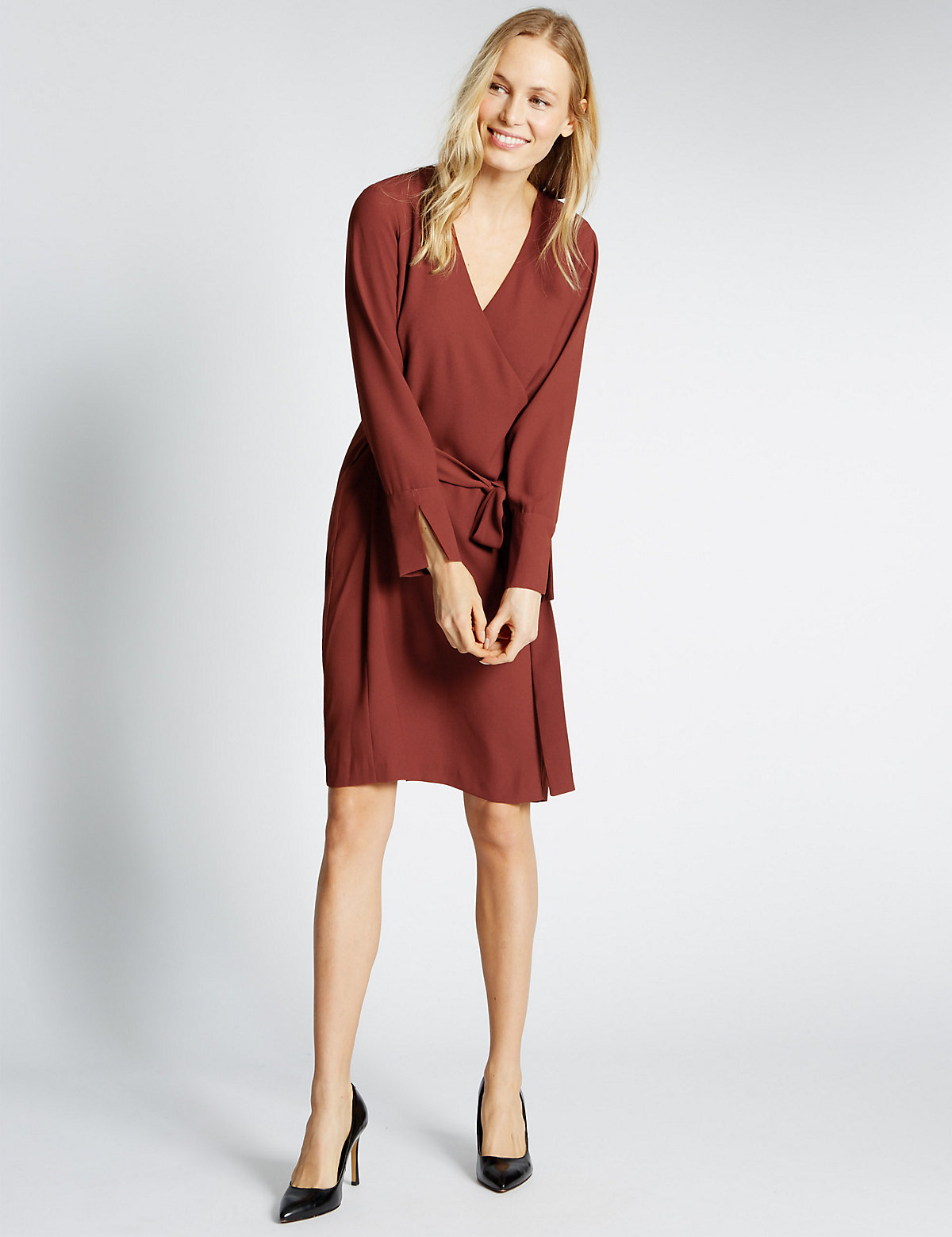 M&s Collection Soft Long Sleeve Wrap Dress