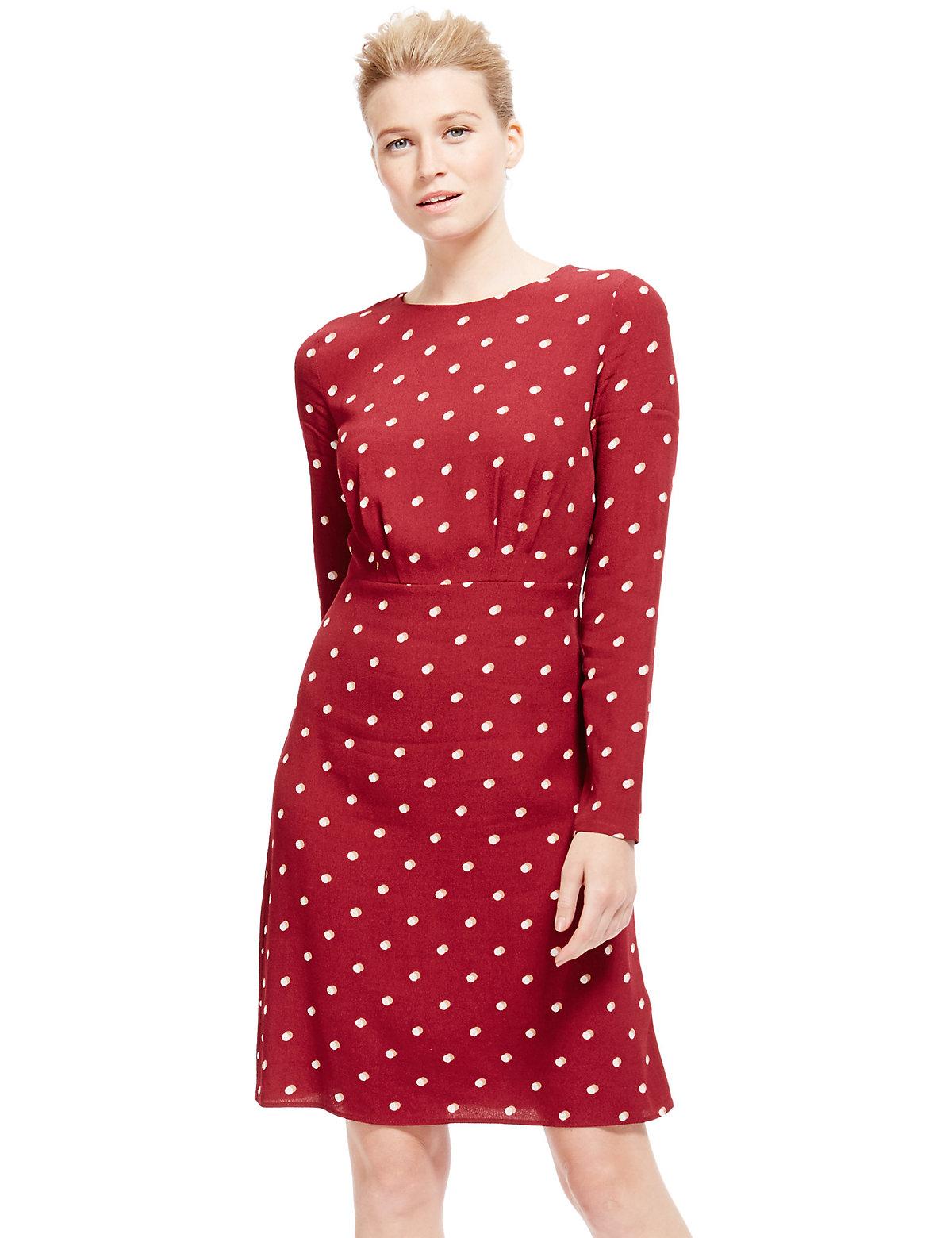 MS Collection Spotted Fit  Flare Tea Dress £39.50 AT vintagedancer.com