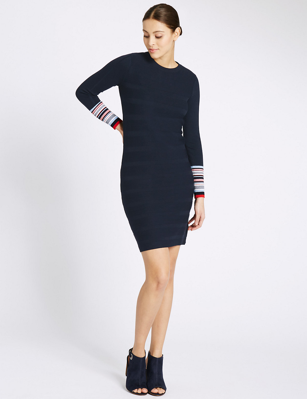 Per Una Striped Cuff Knit Long Sleeve Bodycon Dress