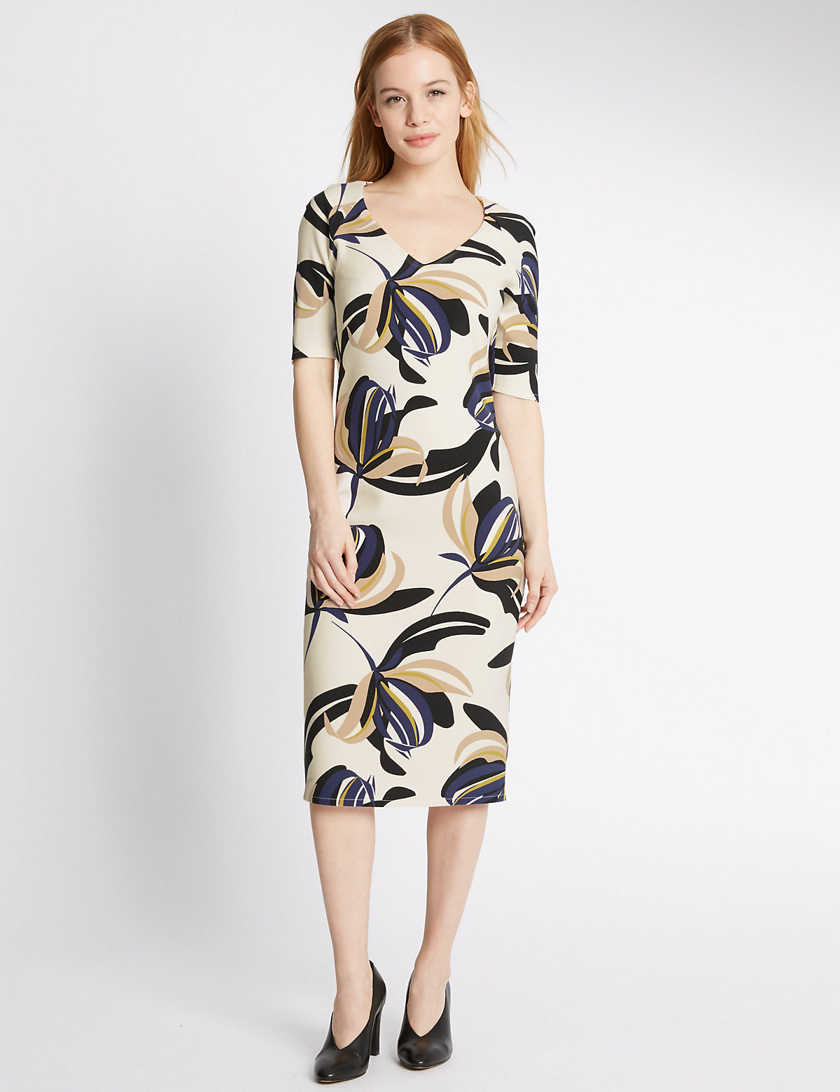 MS Collection PETITE Floral Print Bodycon Dress Marks and Spencer P22505087