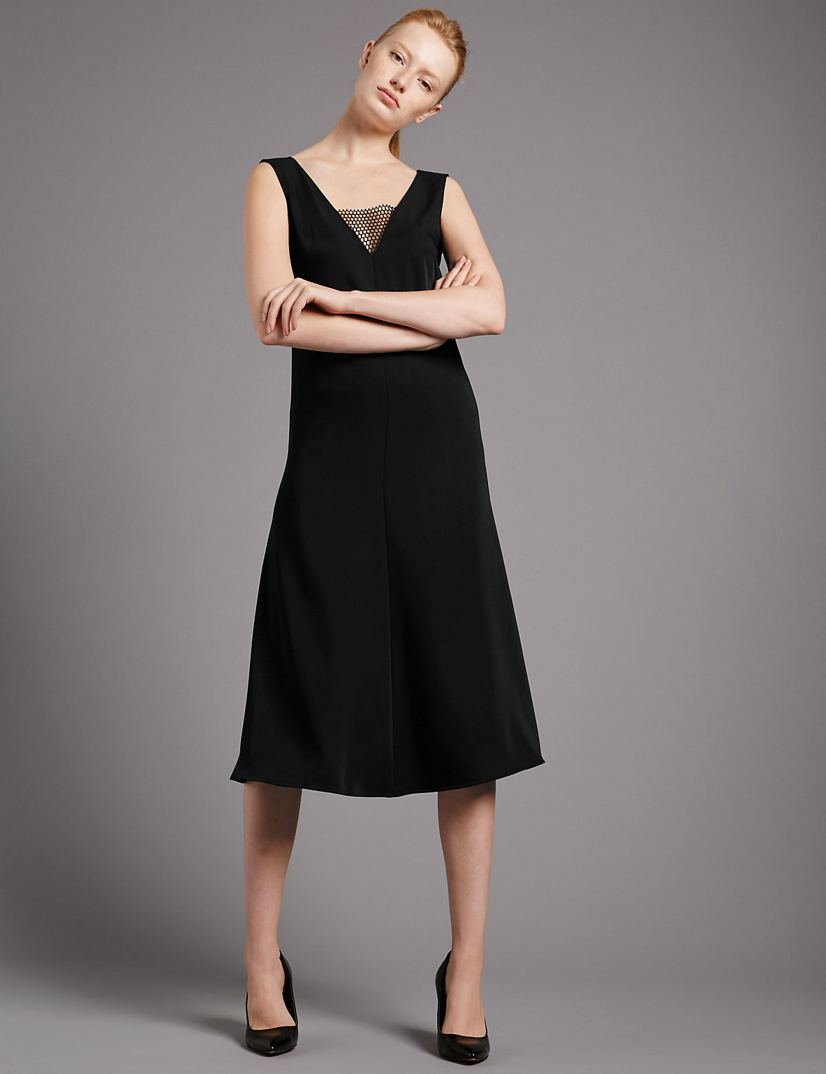 Autograph Deep V-Neck Insert Fit & Flare Dress