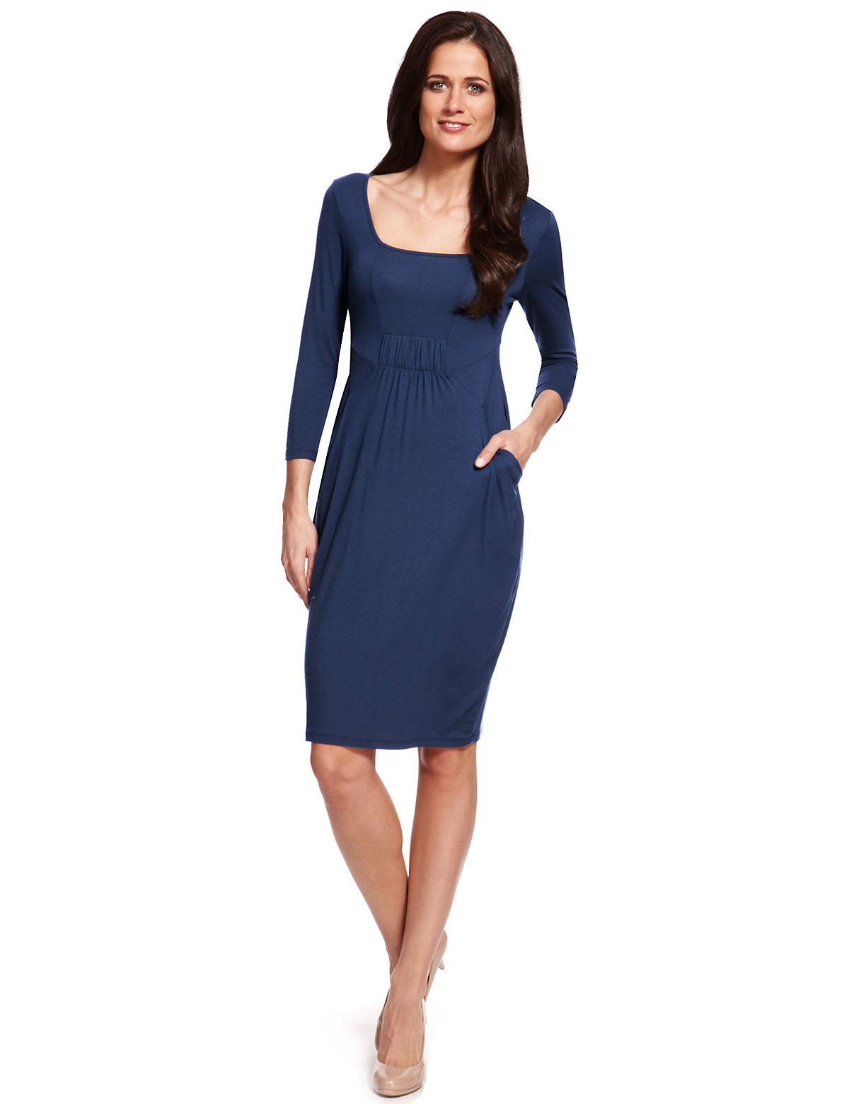 M & S Collection Ruched Shift Dress with StayNEW™