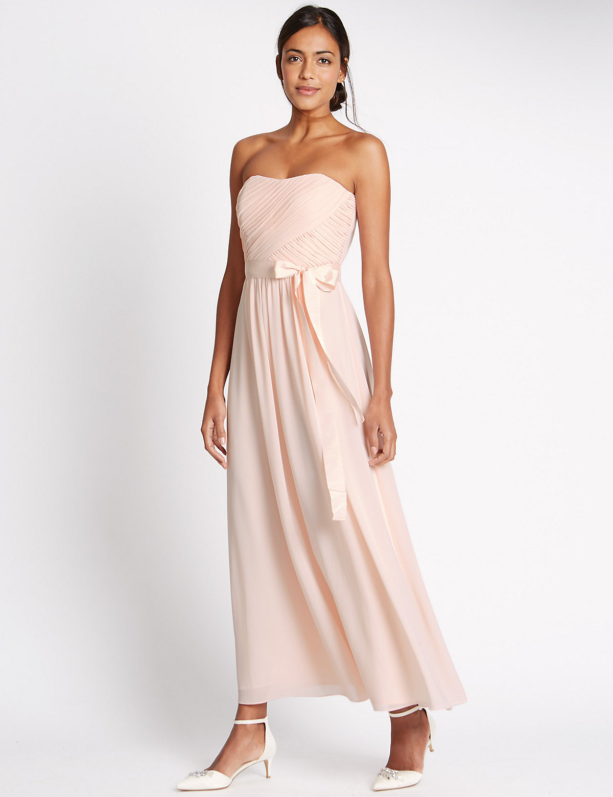 MS Collection Strapless Pleated Maxi Dress with Belt Marks and Spencer P22494167