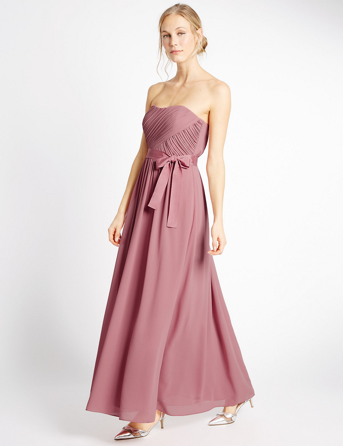 MS Collection Strapless Pleated Maxi Dress with Belt Marks and Spencer P22494208