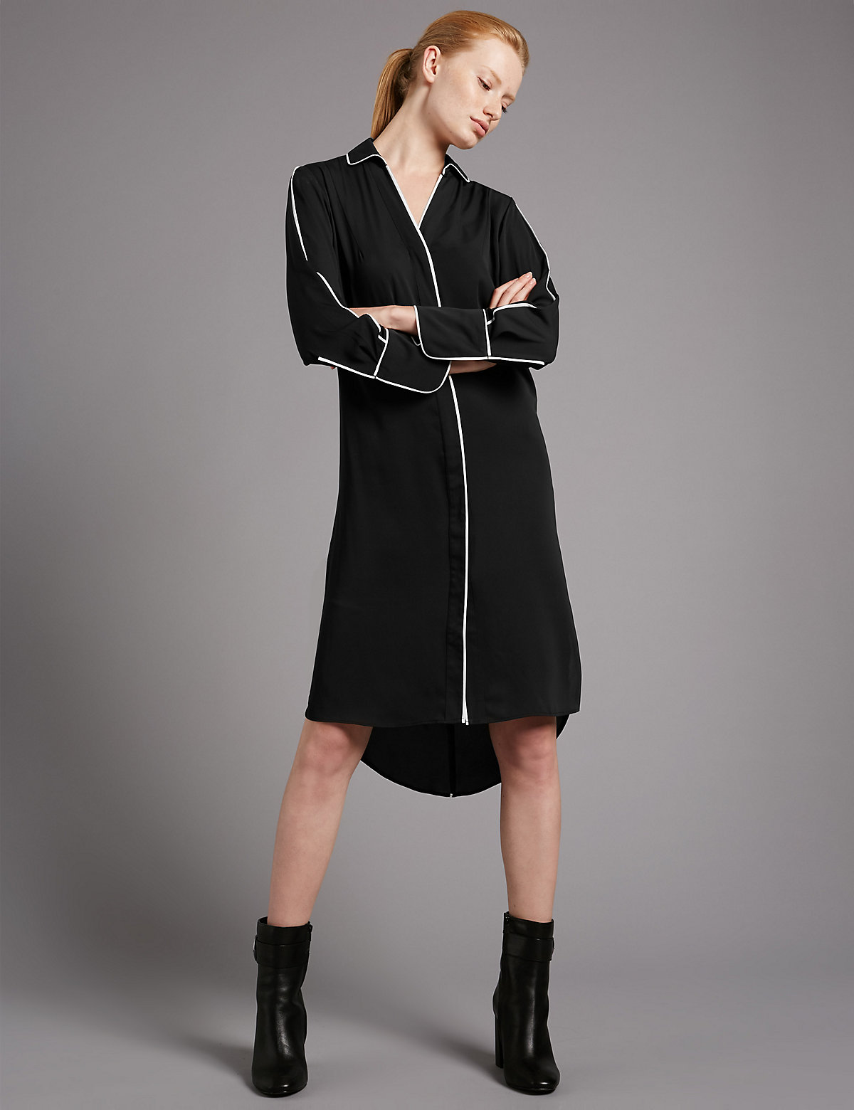 Autograph Contrasting Edge Long Sleeve Tunic Dress