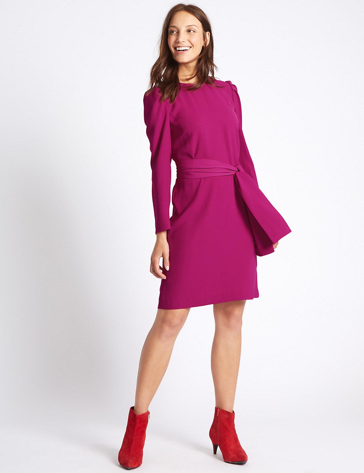 M&S Collection Tie Waist Puff Sleeve Tunic Dress