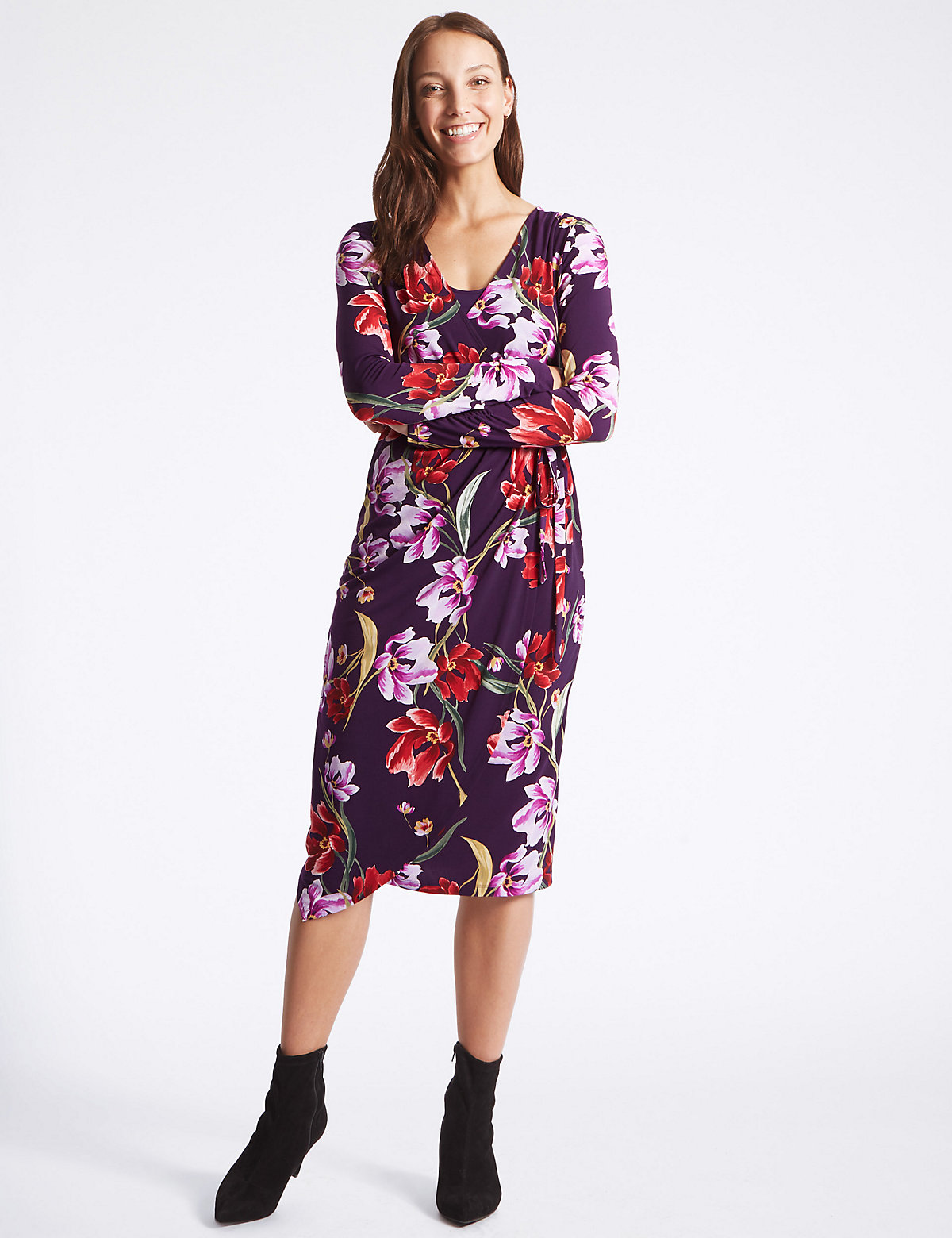 M&S Collection Floral Print Long Sleeve Wrap Midi Dress
