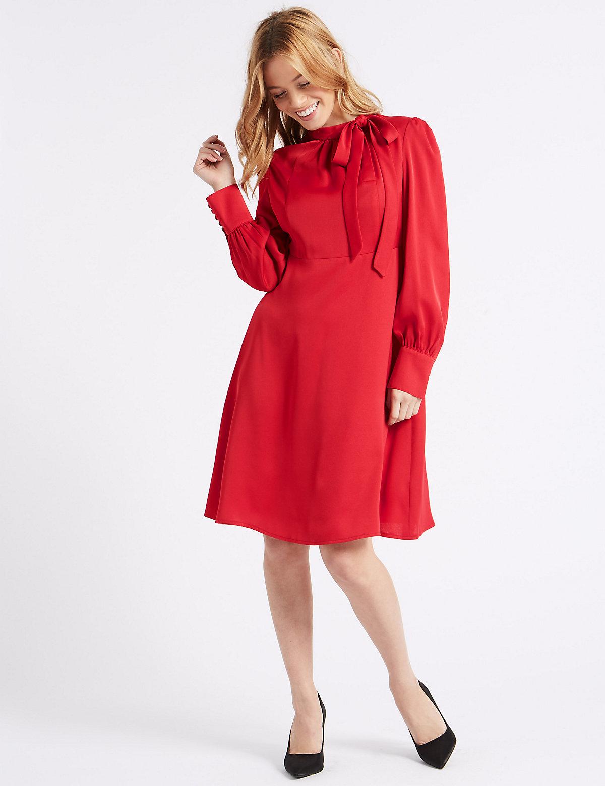 M&S Collection PETITE Long Sleeve Midi Dress