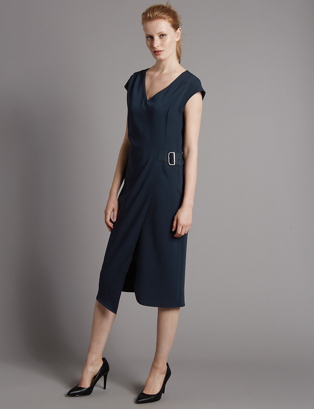 Autograph Buckle Cap Sleeve Shift Dress