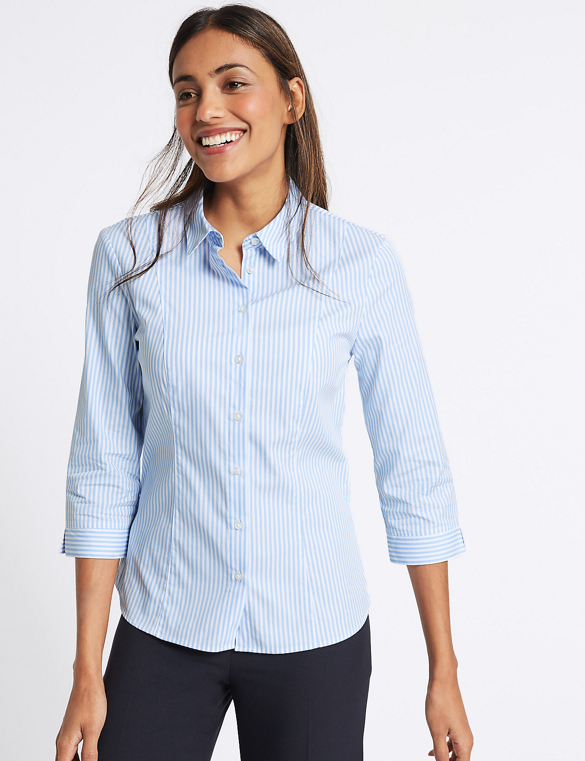 Image of M&S Collection Cotton Rich Striped 3/4 Sleeve Shirt