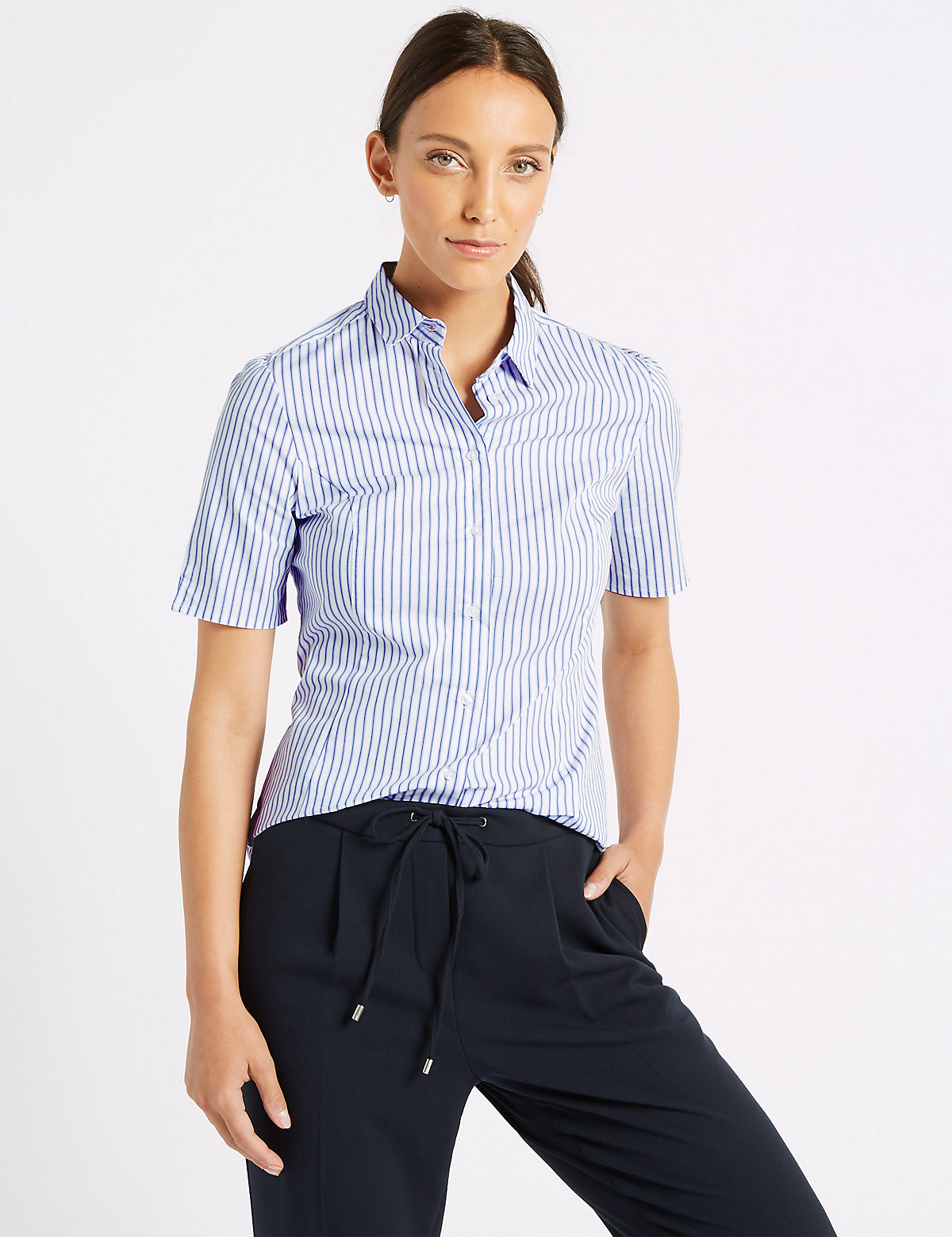 Image of M&S Collection Cotton Rich Striped Short Sleeve Shirt