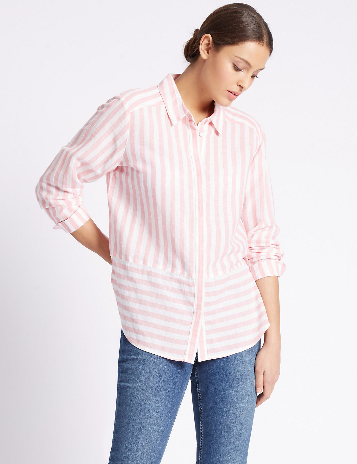 Per Una Linen Rich Contrasting Striped Hem Shirt Marks and Spencer P22500289