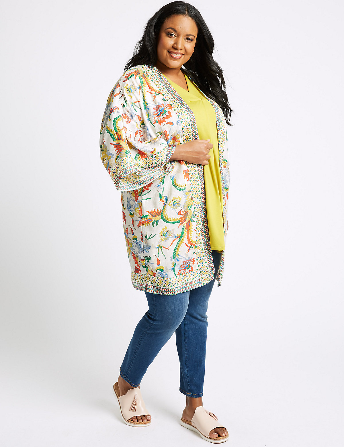 Image of M&S Collection CURVE Printed 3/4 Sleeve Kimono