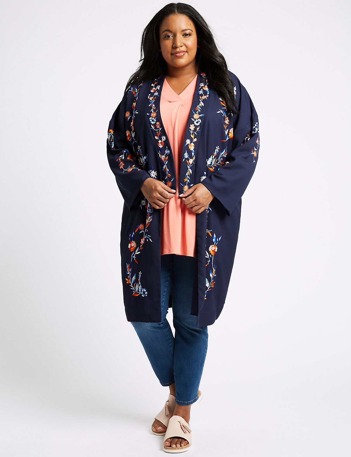 Image of M&S Collection CURVE Embroidered Long Sleeve Kimono Top