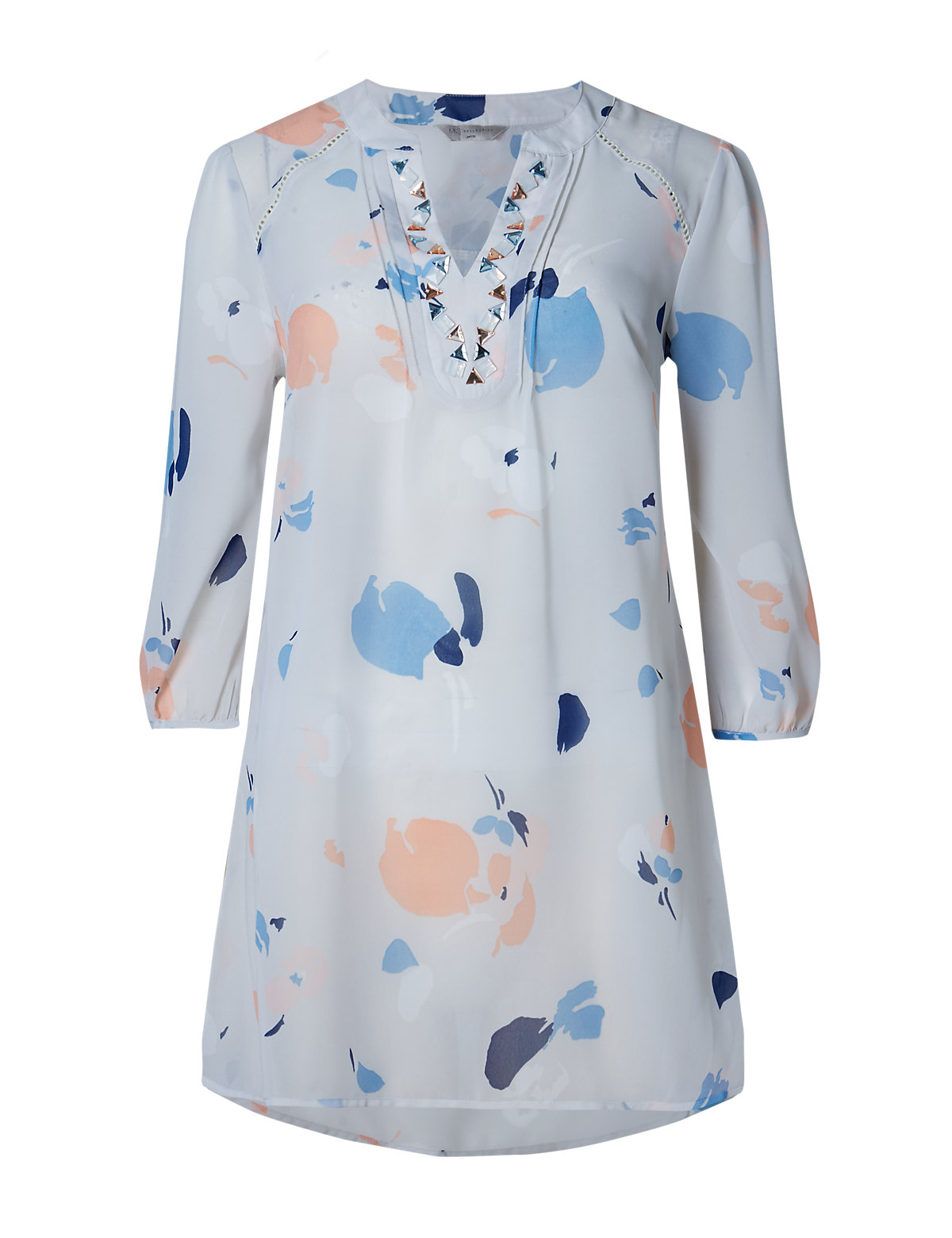 M&S Collection PETITE Abstract Print Embellished Dippy Hem Top