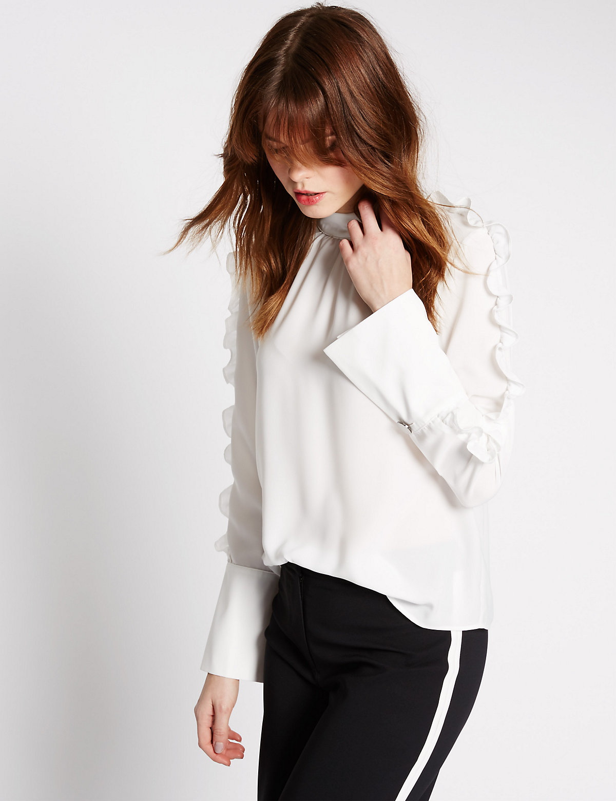 Limited Edition Ruffle High Neck Long Sleeve Blouse Marks and Spencer P22505481
