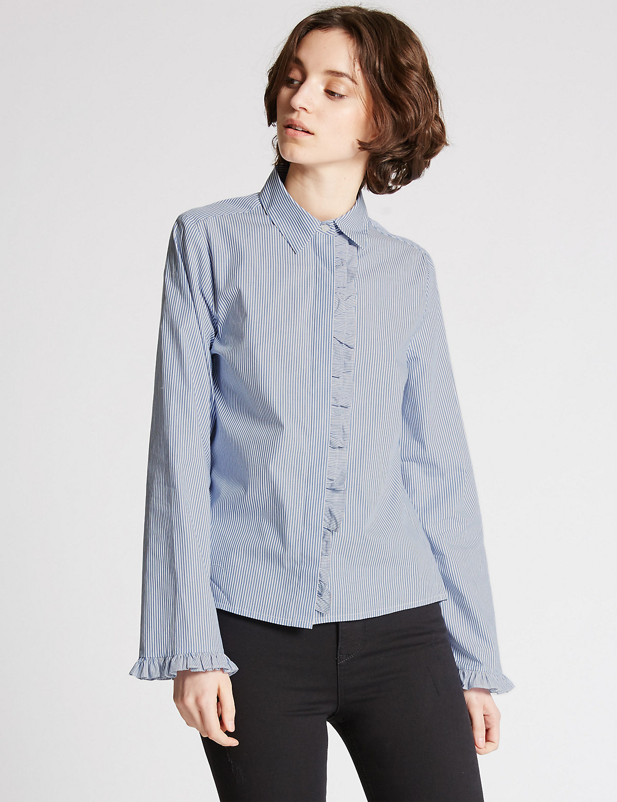 Limited Edition Pure Cotton Striped Ruffle Poplin Shirt Marks and Spencer P22510270
