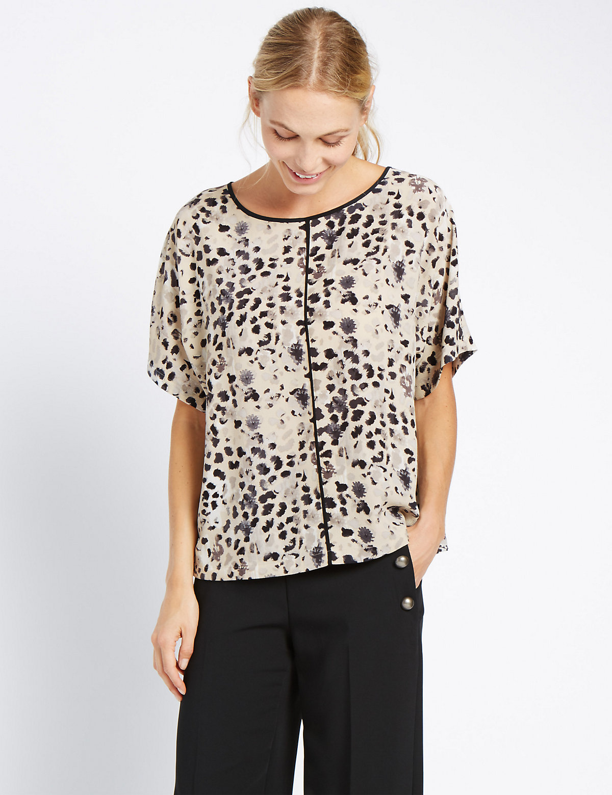 M&S Collection Animal Print Short Sleeve Shell Top