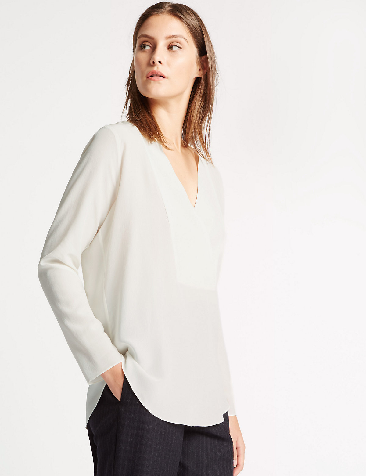 Best Of British For M&s Collection Pure Silk V-neck Blouse