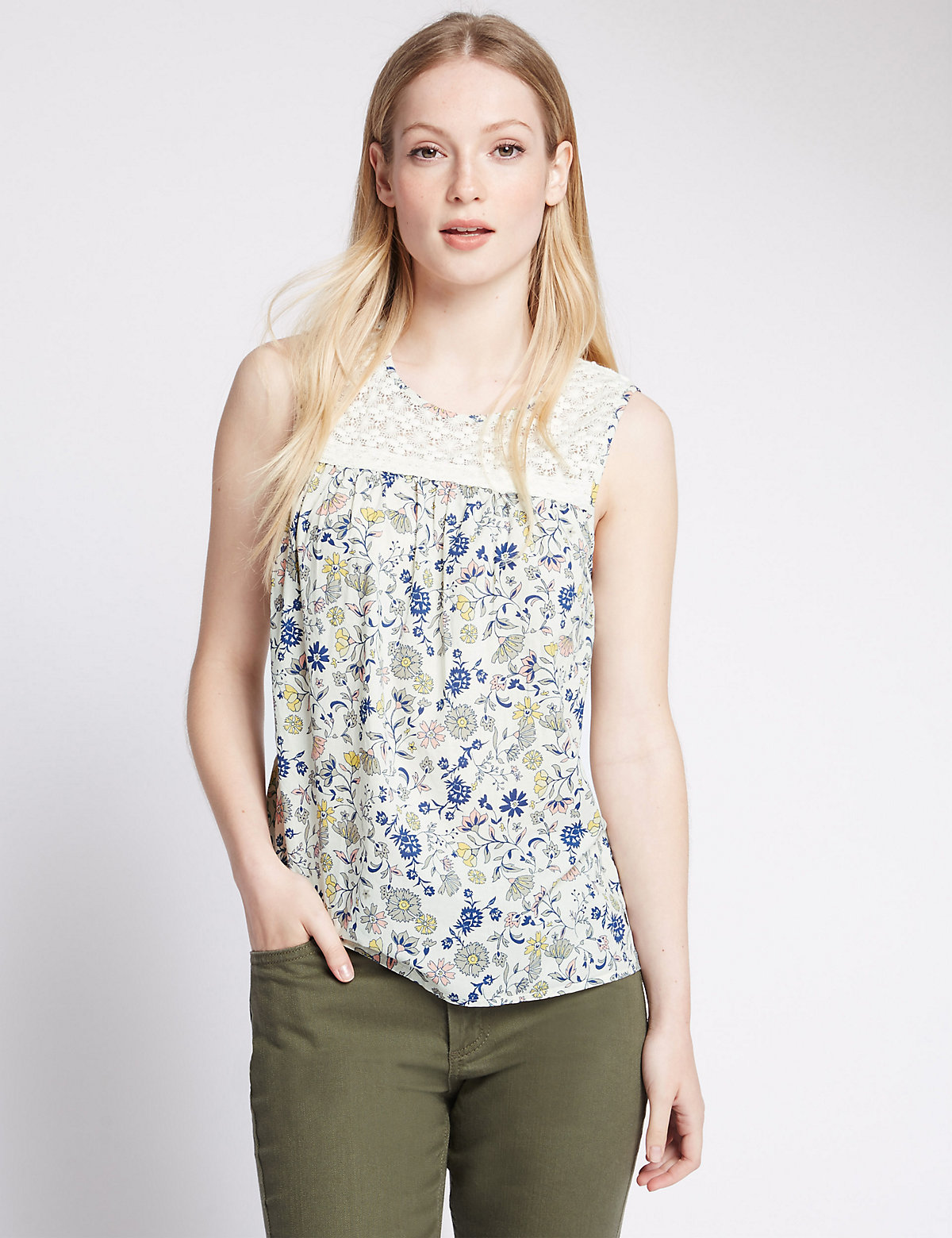 M&S Collection PETITE Pure Cotton Ditsy Floral Shell Top