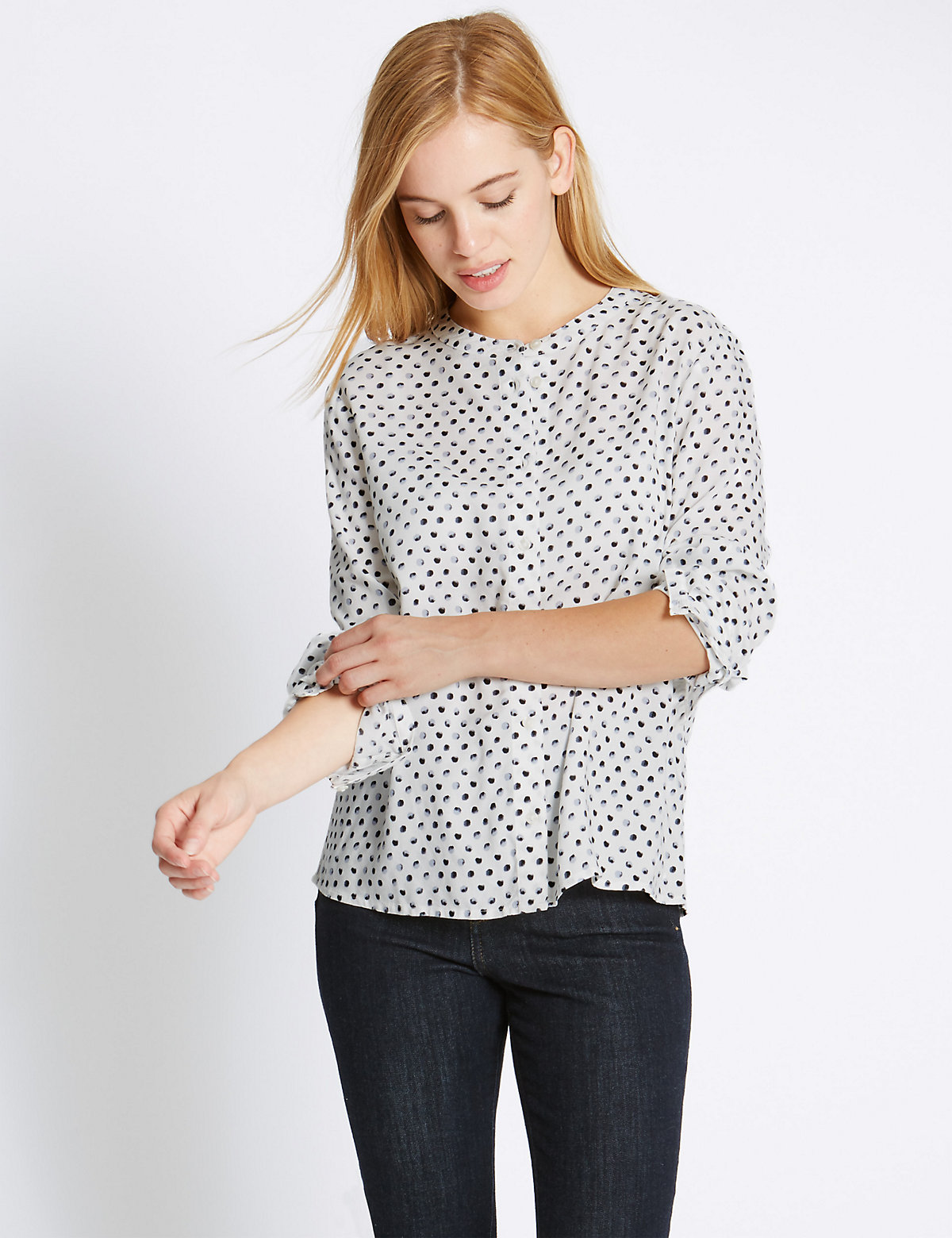 M&S Collection PETITE Long Sleeve Spotted Shirt