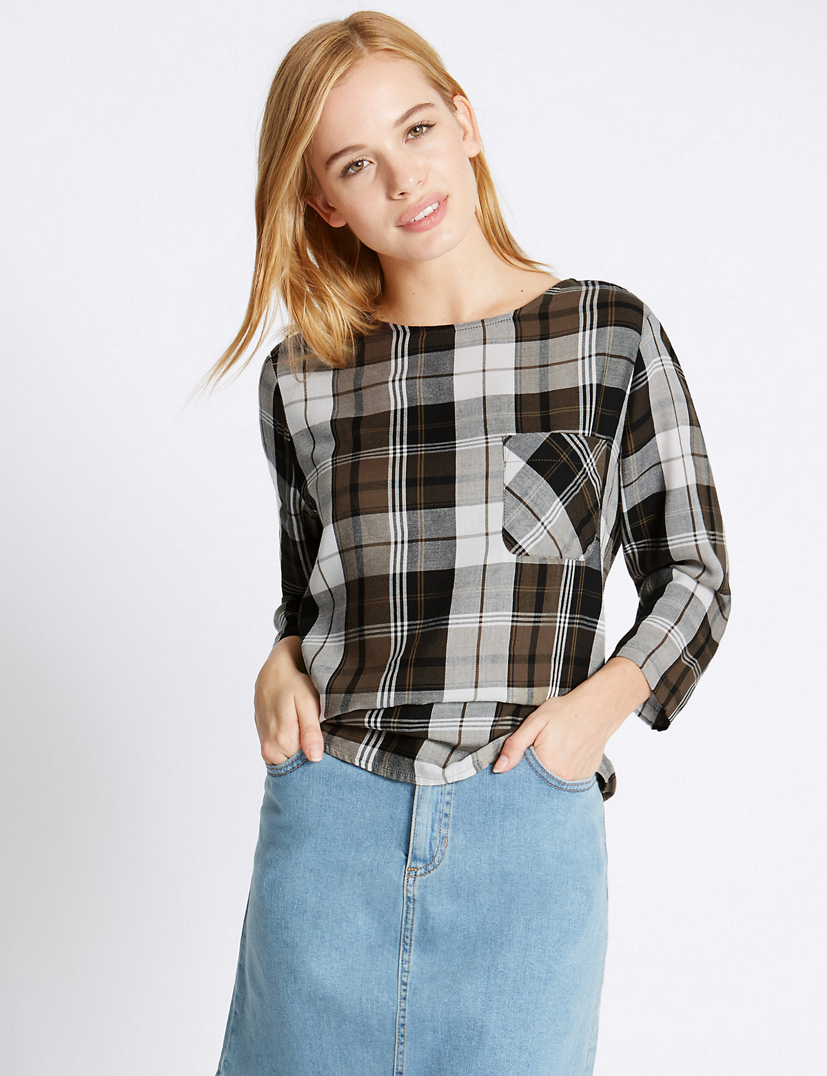 M&S Collection PETITE Check Boxy Shell Top