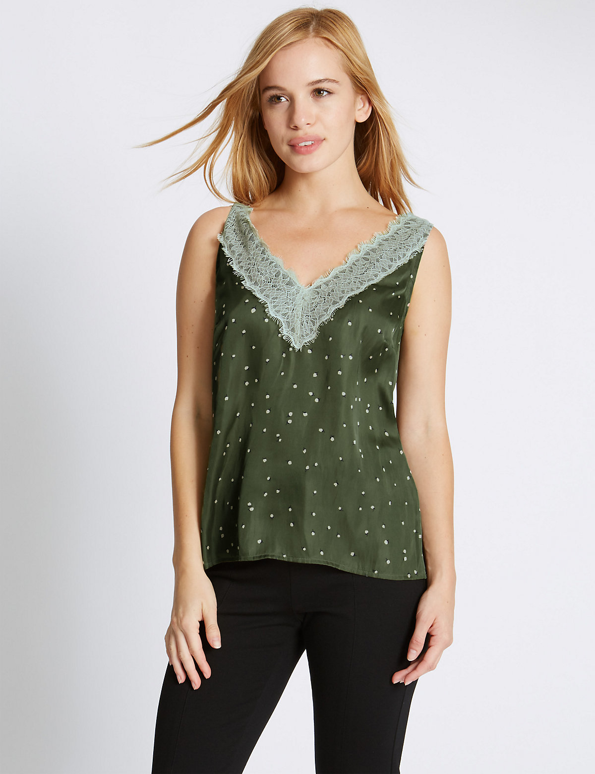 M&S Collection PETITE Lace Trim Camisole Top