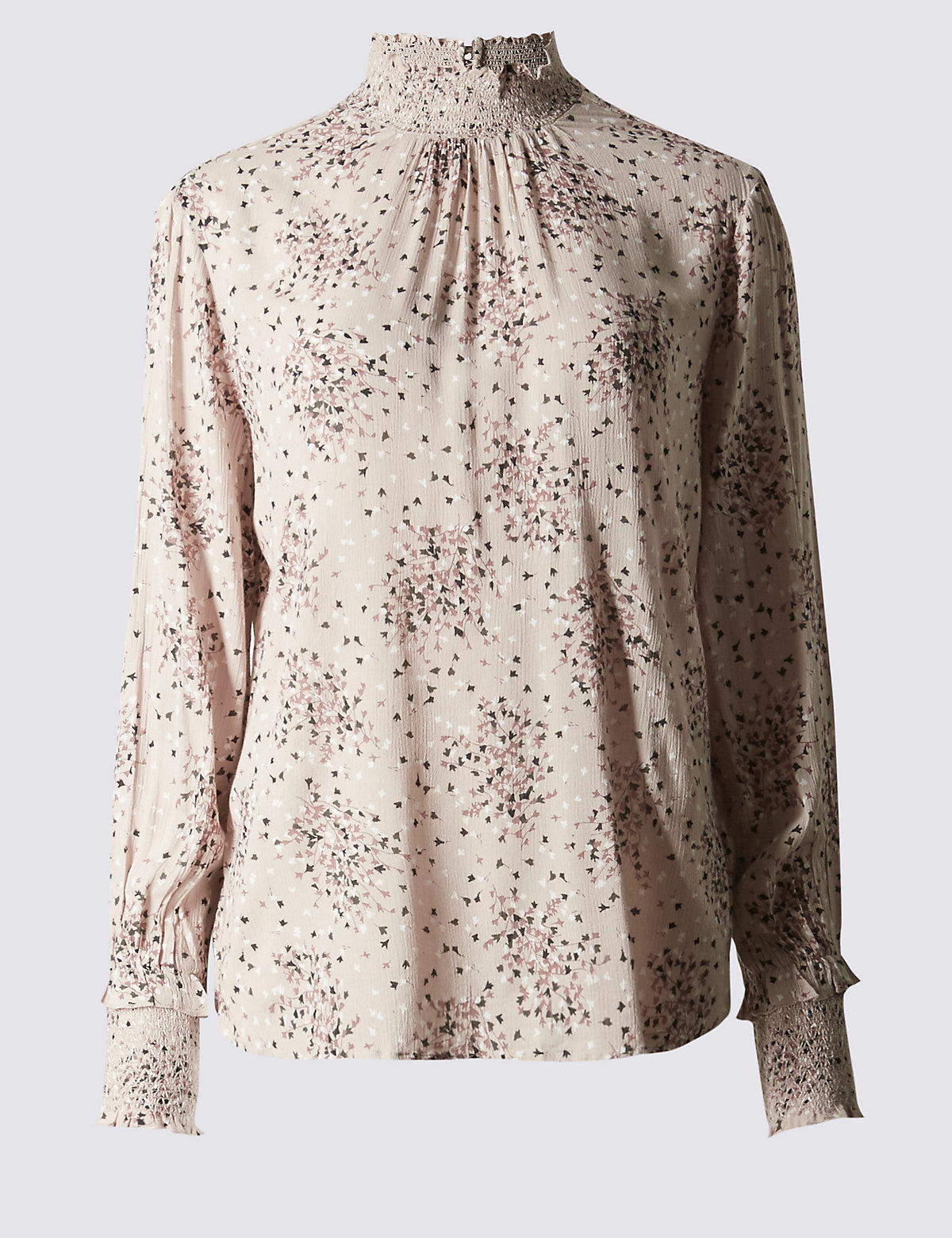M&S Collection Crinkle High Neck Blouse