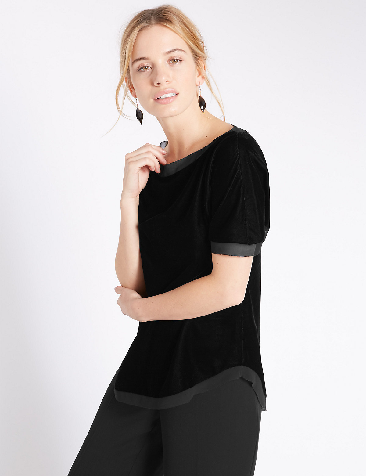 M&S Collection PETITE Velvet Boxy Shell Top