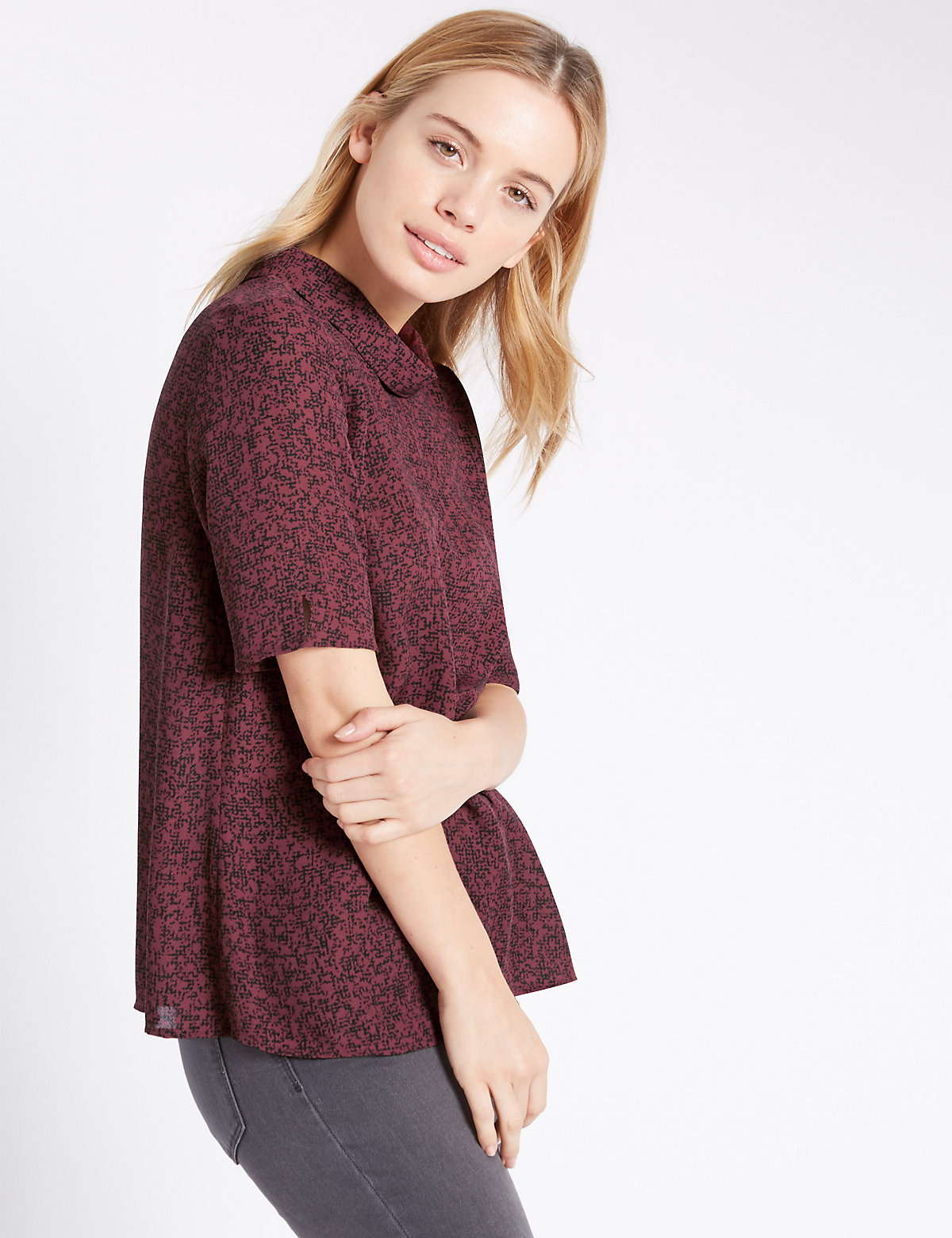 M&S Collection PETITE Funnel Neck Shell Top