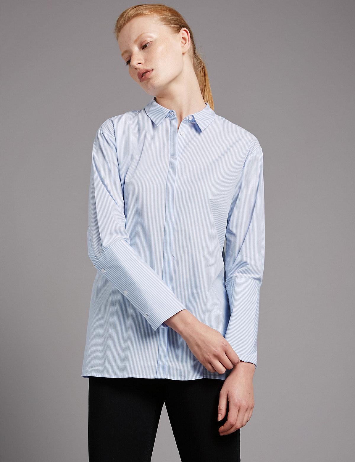 Autograph Pure Cotton Striped Poplin Shirt