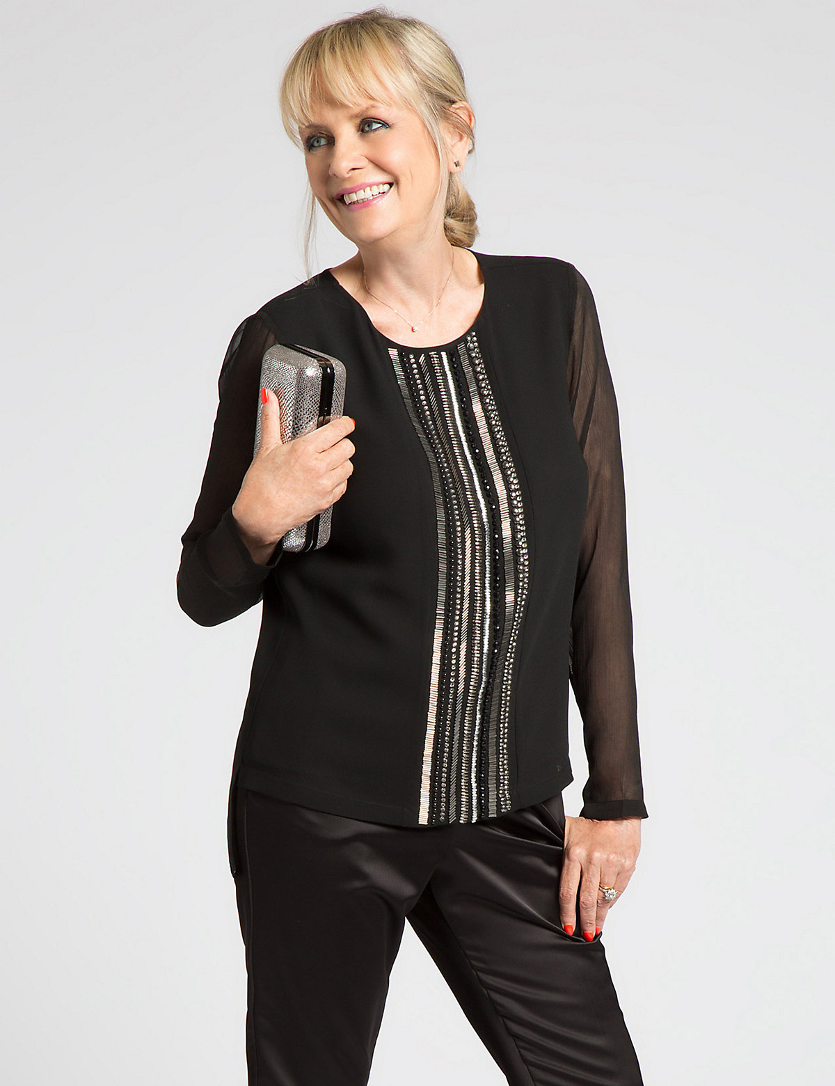Designed by Twiggy Beaded Long Sleeve Blouse