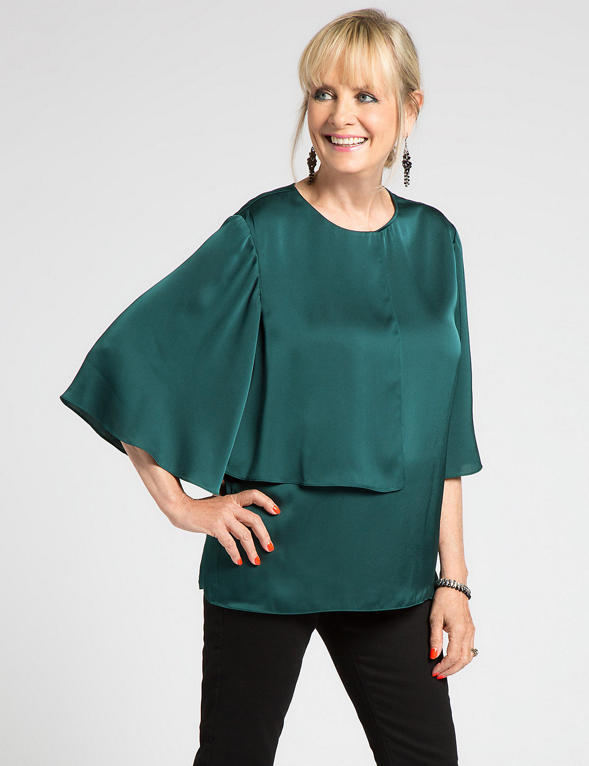 Designed by Twiggy Double Layer 3/4 Sleeve Blouse