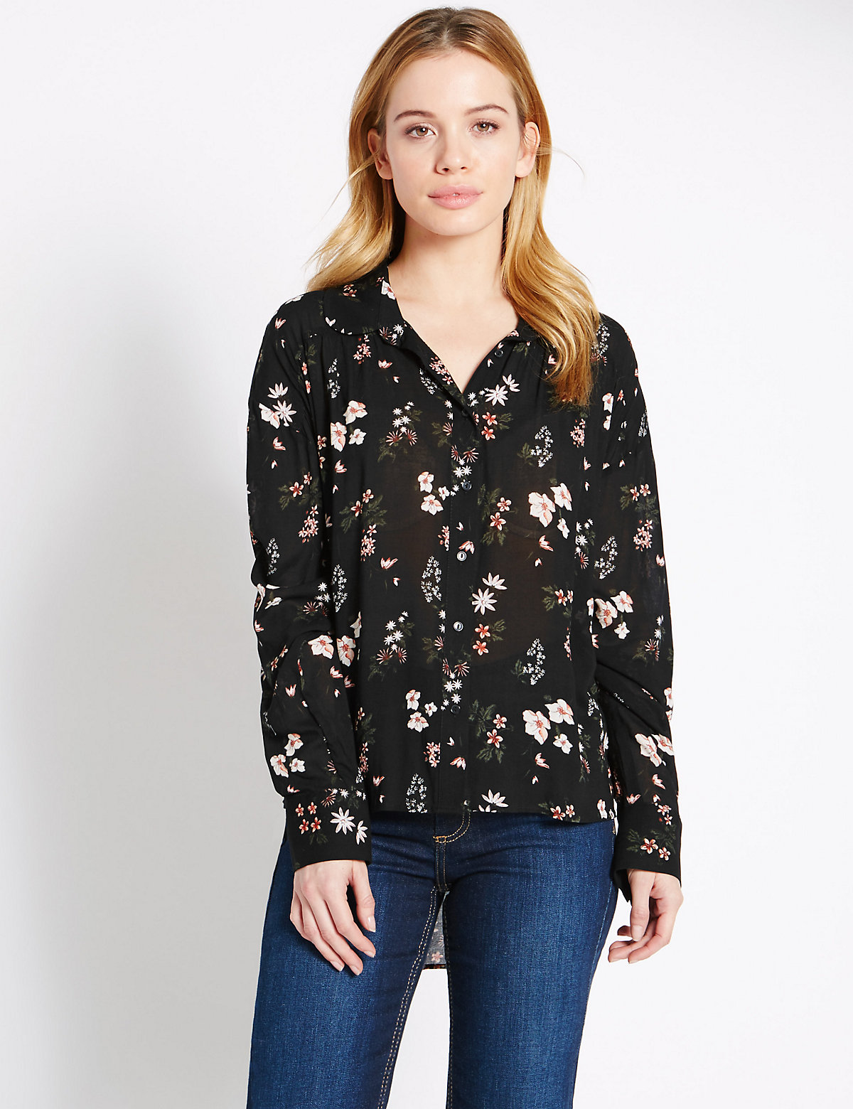 M&S Collection PETITE Long Sleeve Floral Shirt