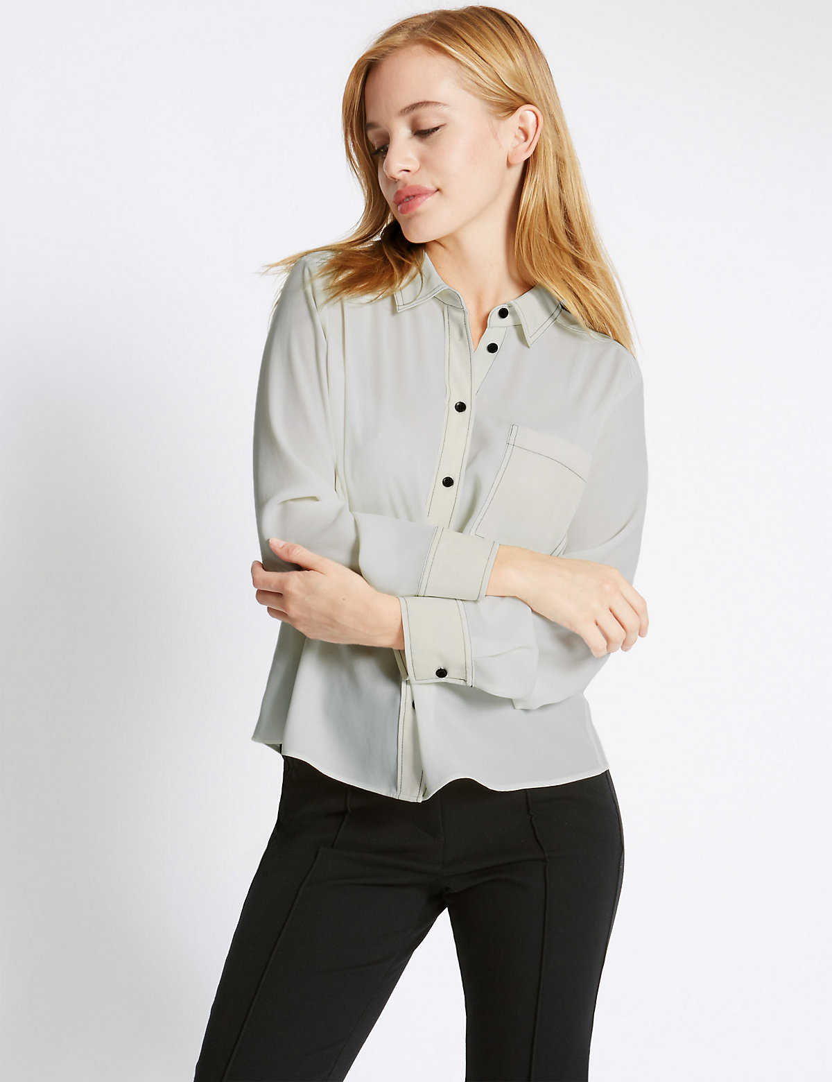 M&S Collection PETITE Long Sleeve Stitch Shirt