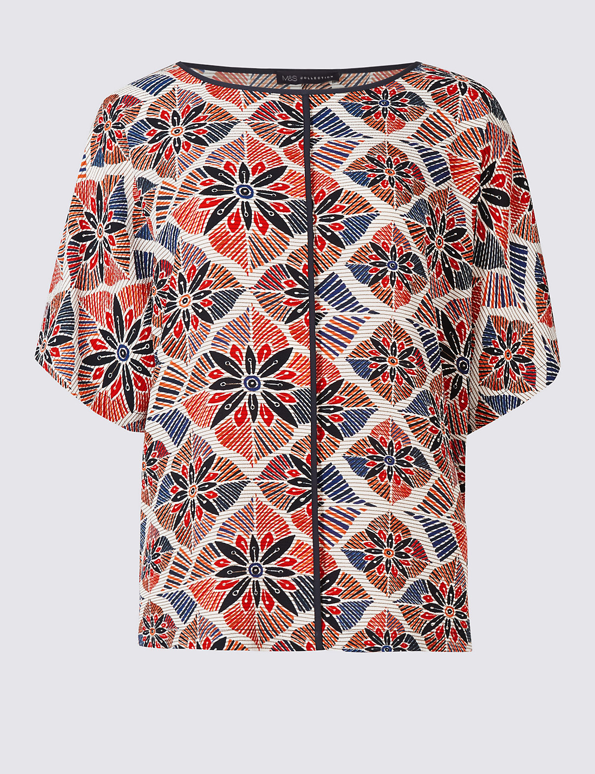 MS Collection Geometric Print Short Sleeve Shell Top Marks and Spencer P22509874