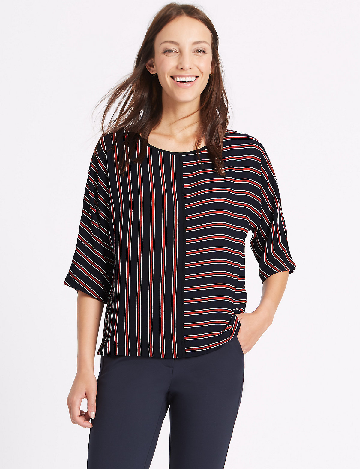 Image of M&S Collection Kimono Striped 3/4 Sleeve Shell Top