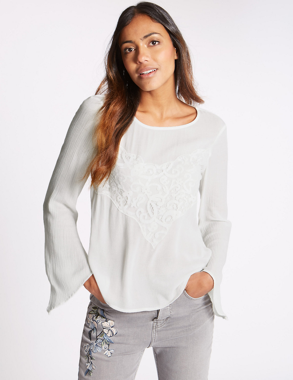 M&S Collection Romantic Long Sleeve Blouse