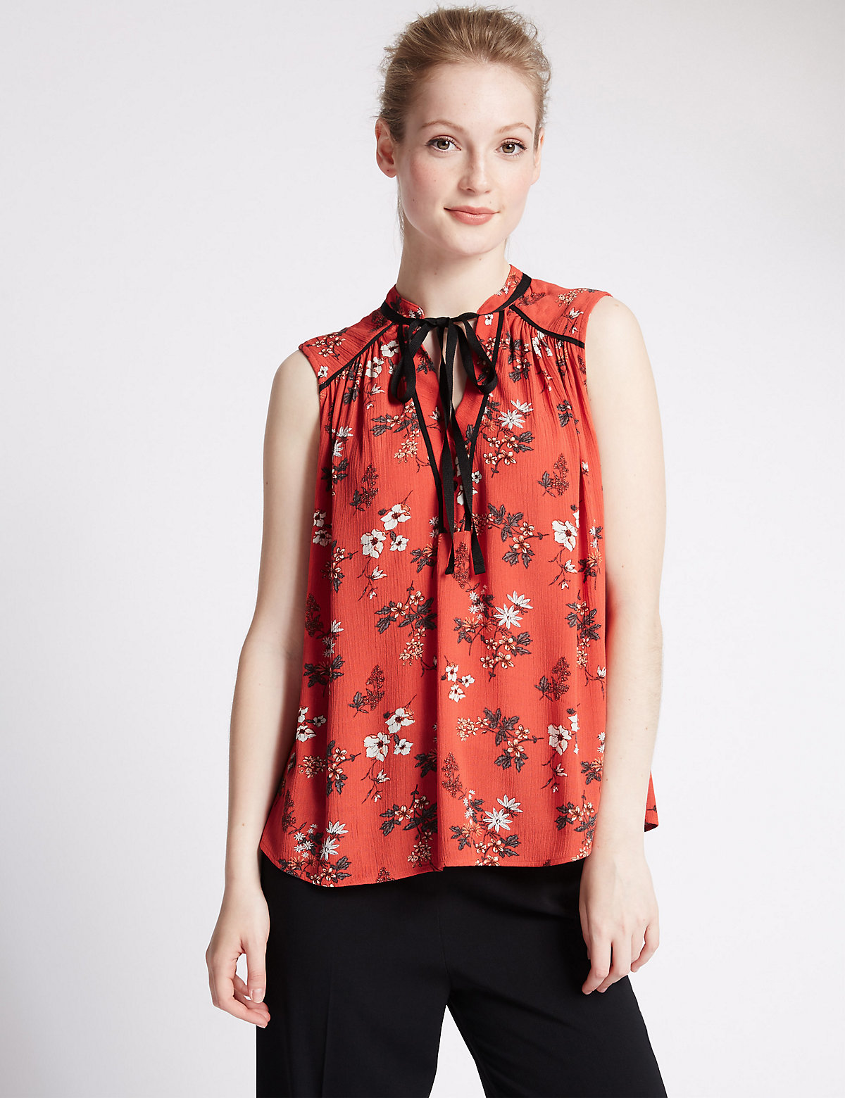 M&S Collection PETITE Bow Floral Blouse