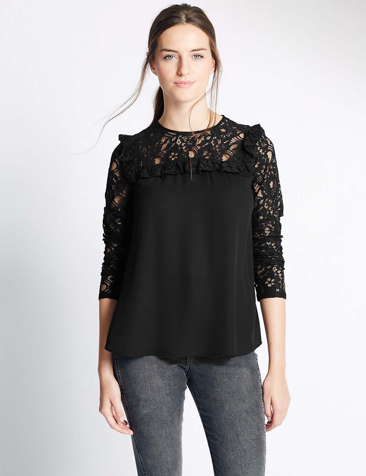 M&S Collection Long Sleeve Ruffle Lace Blouse